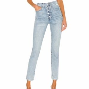 We Wore What The Danielle Crystal High Rise Button Fly Jeans